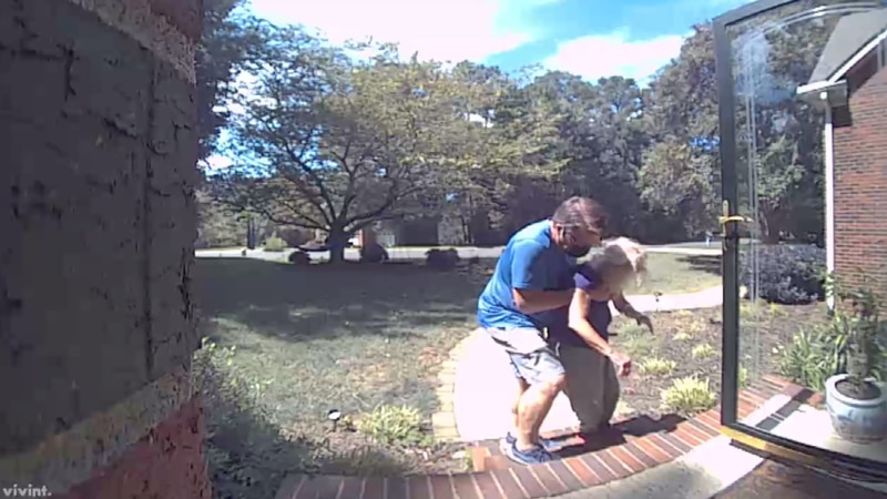 Home security video shows the moment the 78-year-old returned home after being discharged from...