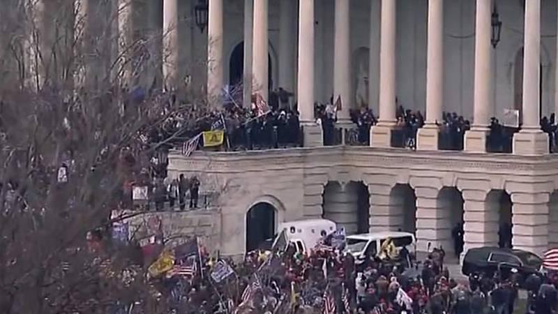 Capitol Police in Washington, DC, locked down the U.S. Capitol building after protesters...