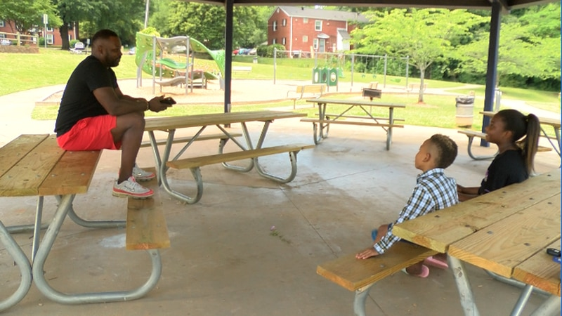 Michael Williams brought his kids to the park to give them a break from remote learning.