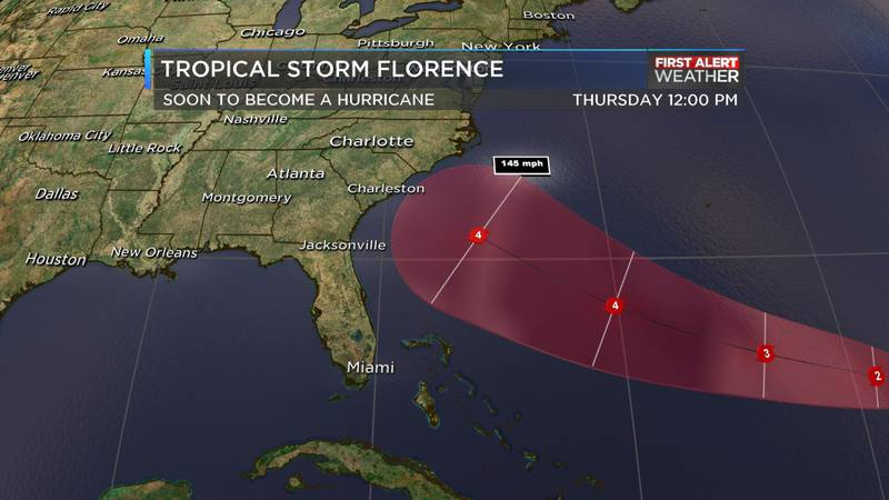 Tropical Storm Florence continues to travel towards the east coast of the United States.