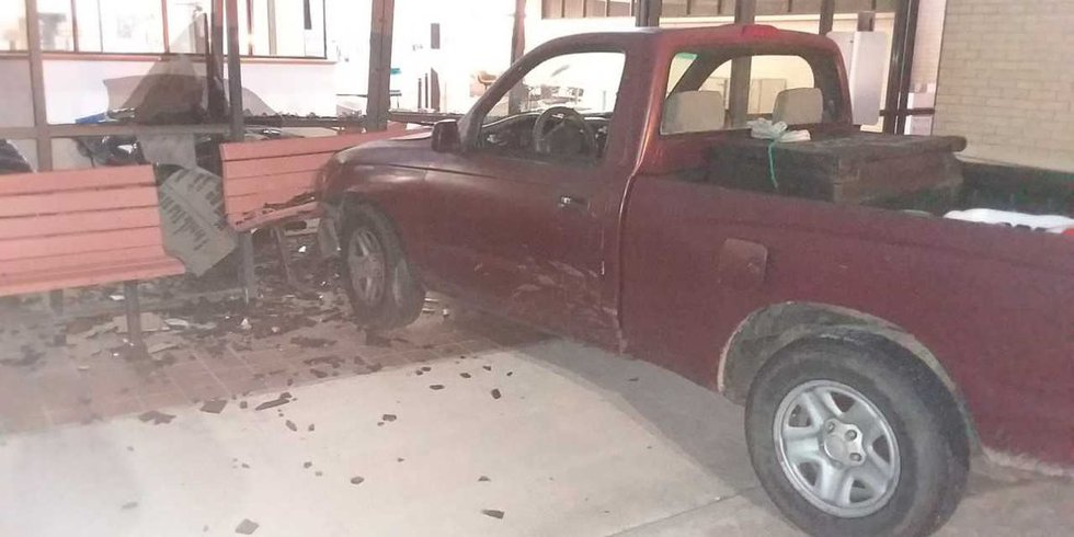 A 1997 Toyota Tacoma pickup truck crashed into the Harrison County courthouse Saturday morning.