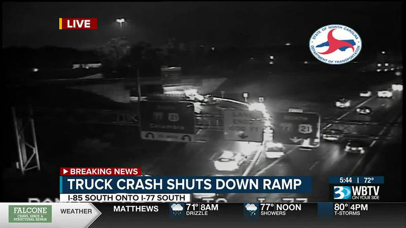 Ramp from I-85S to I77S closed after tractor-trailer crashes into guardrail
