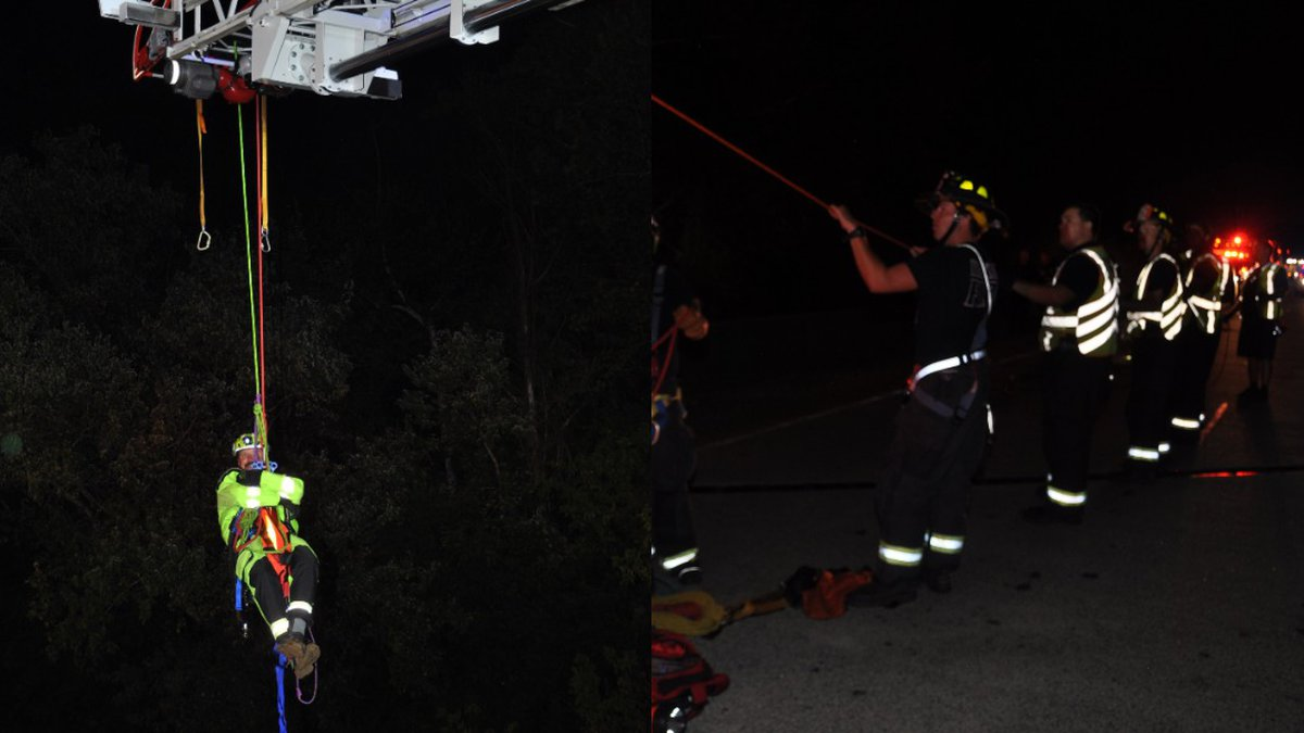 Firefighters rescued a woman and three children who were trapped in a river in Hickory over the...