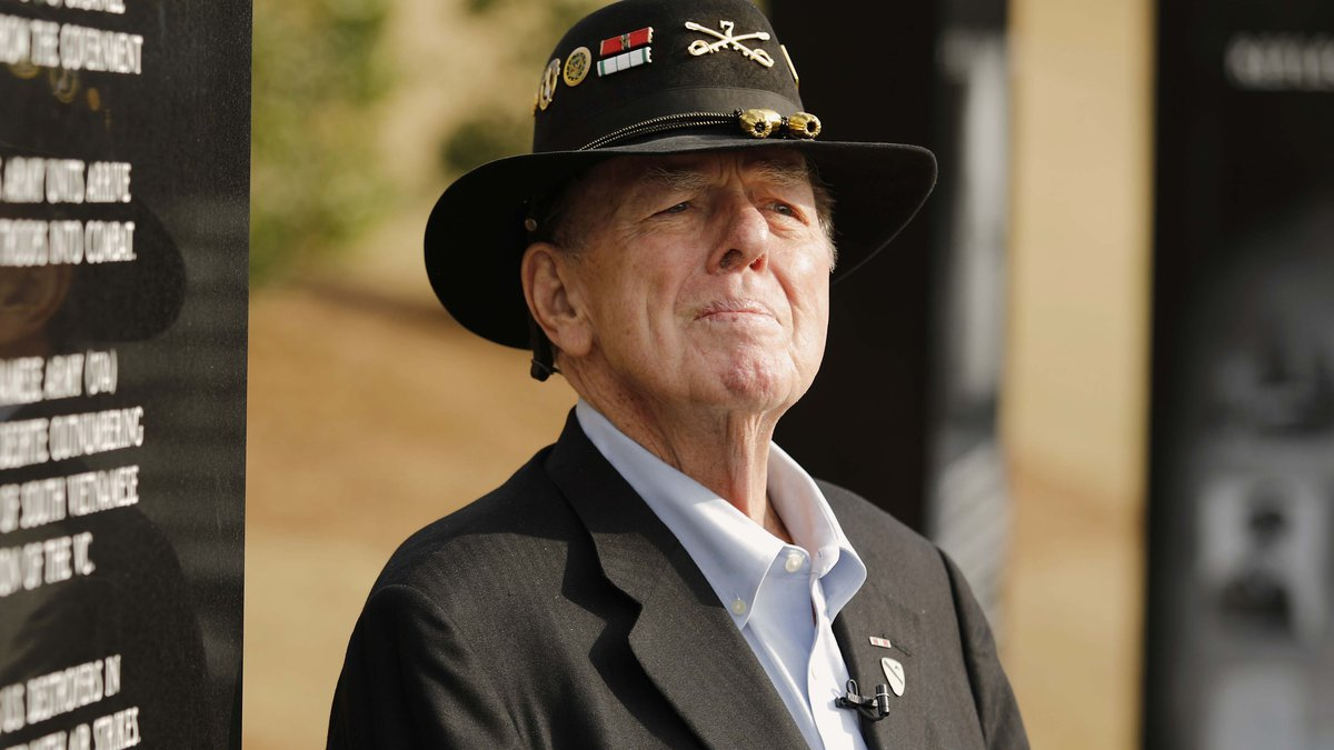 FILE - Author Joe Galloway talks to reporters after services for retired Lt. Gen. Hal Moore,...