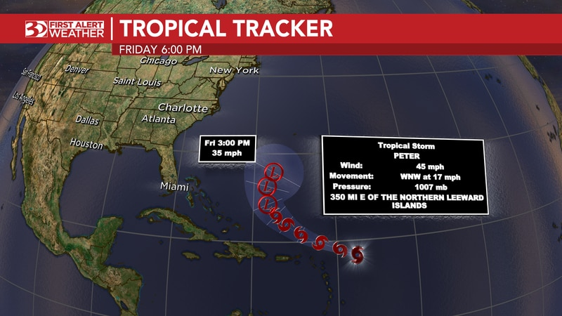 Tracking Tropical Storm Peter and Tropical Storm Rose in the Atlantic Ocean