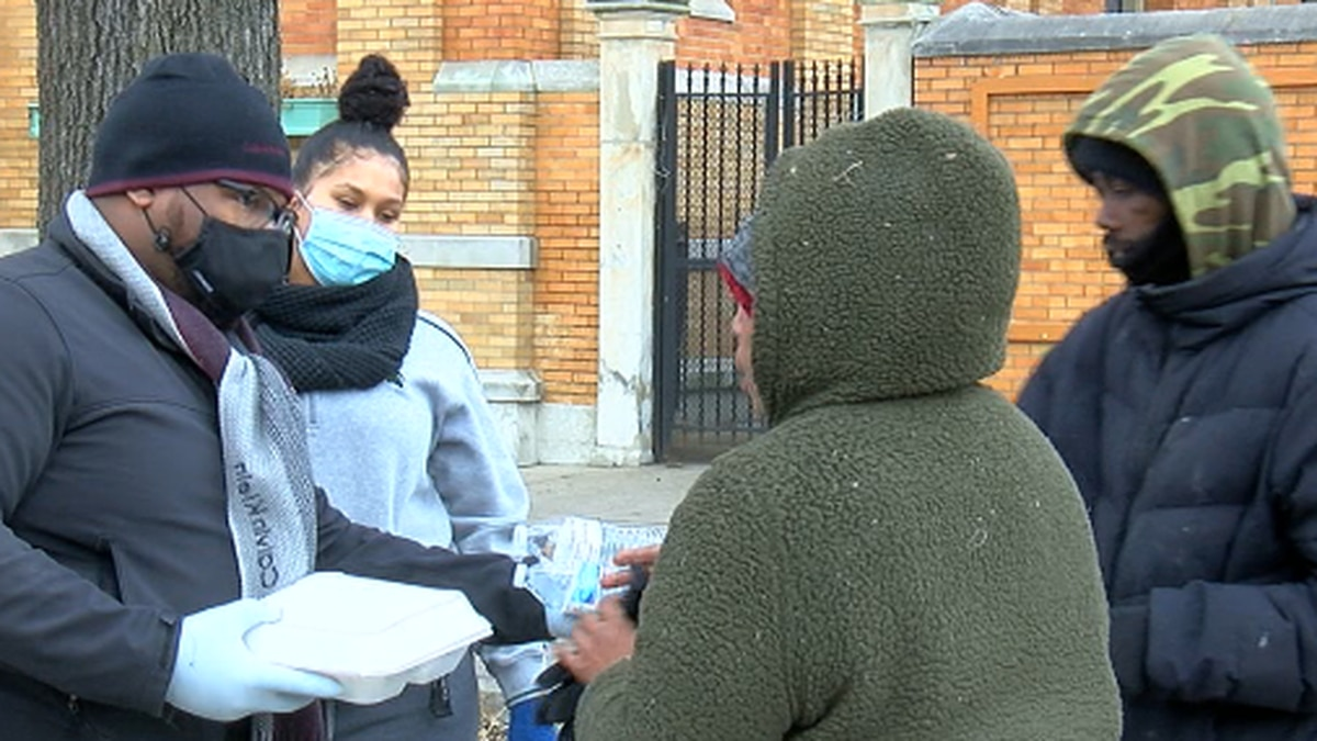 A local man spent his stimulus checks on providing meals for the homeless.
