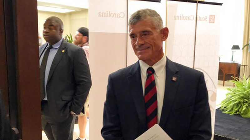 New University of South Carolina President Bob Caslen meets with alumni and others on Monday,...