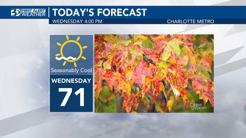 Wednesday will be seasonal, with the high only expected to reach the low 70s.