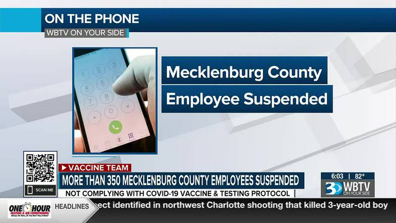 Hundreds of Mecklenburg Co. employees remain suspended for not following county's vaccination,...