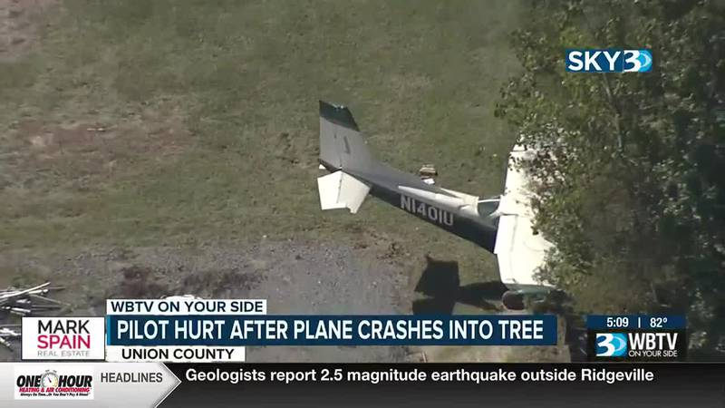 Officials say a pilot suffered injuries after a plane crashed into a tree in Union County...