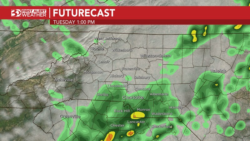 Today is a FIRST ALERT DAY, as a cold front moves across the Carolinas, bringing scattered rain...
