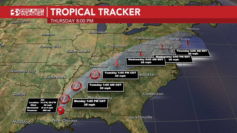 Ida has weakened to a tropical storm and is now marching slowly northward through Mississippi.