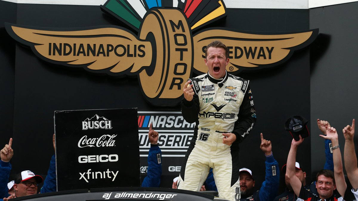 INDIANAPOLIS, INDIANA - AUGUST 15: AJ Allmendinger, driver of the #16 Hyperice Chevrolet,...