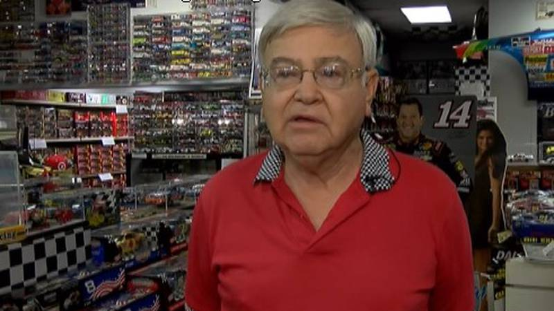 Ed Yancey was interviewed several times on WBTV at his NASCAR diecast shop.