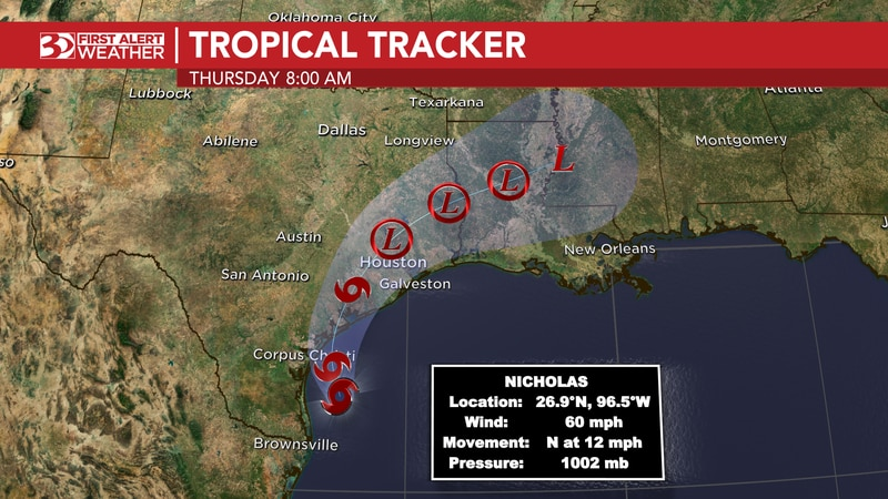 Tropical Storm Nicholas is within hours of landfall in Texas