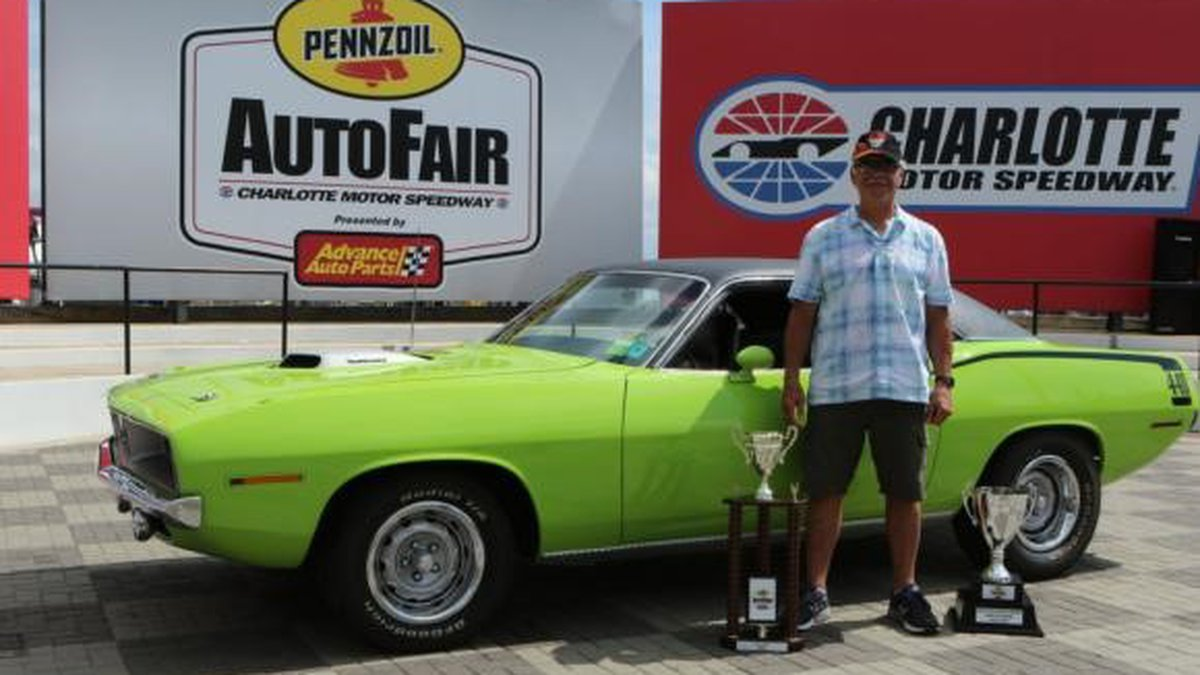 John Gray's lime green 1970 Plymouth Barracuda.