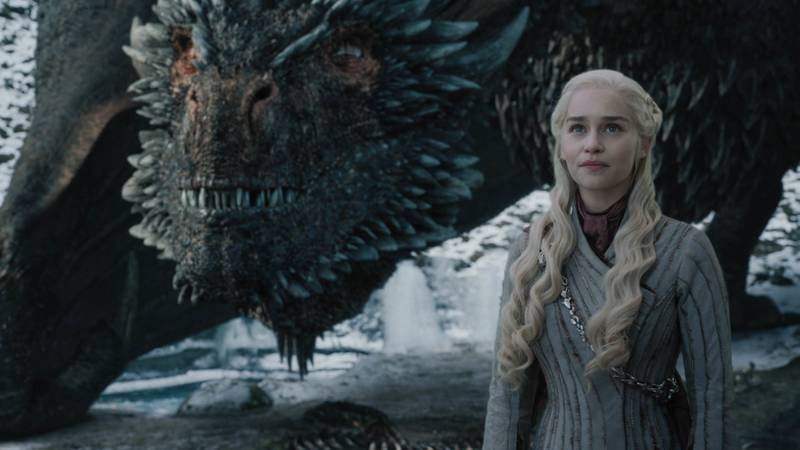 """This image released by HBO shows Emilia Clarke in a scene from """"Game of Thrones,"""" that aired..."""