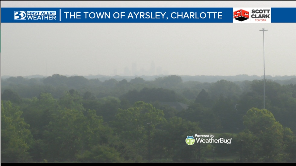 A thick haze can be seen over the Carolinas due to wildfires in the west.