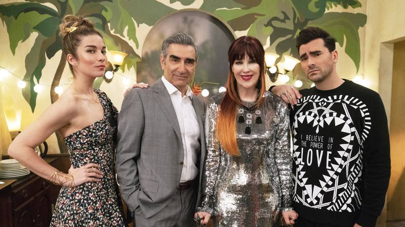 This image released by Pop TV shows, from left, Annie Murphy, Eugene Levy, Catherine O'Hara and...
