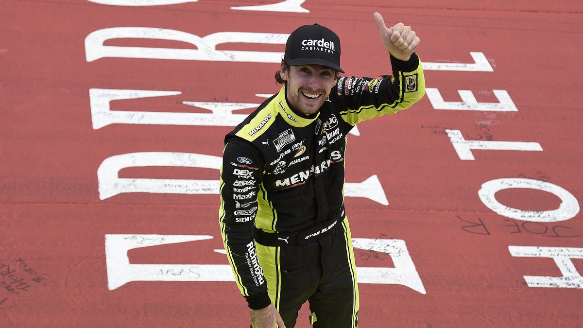 BROOKLYN, MICHIGAN - AUGUST 22: Ryan Blaney, driver of the #12 Menards/Cardell Cabinetry Ford,...
