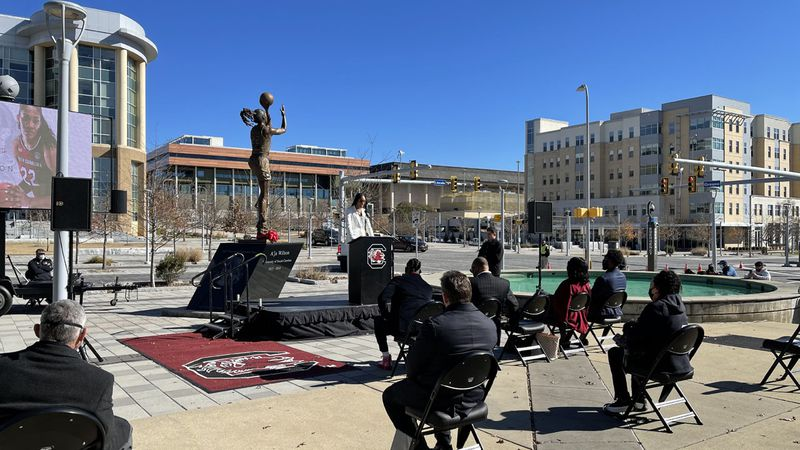 Former South Carolina star A'ja Wilson speaks during a public ceremony to unveil her statue at...