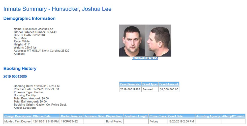 According to The Gaston County Sheriff's Office website, Hunsucker was released from jail on...