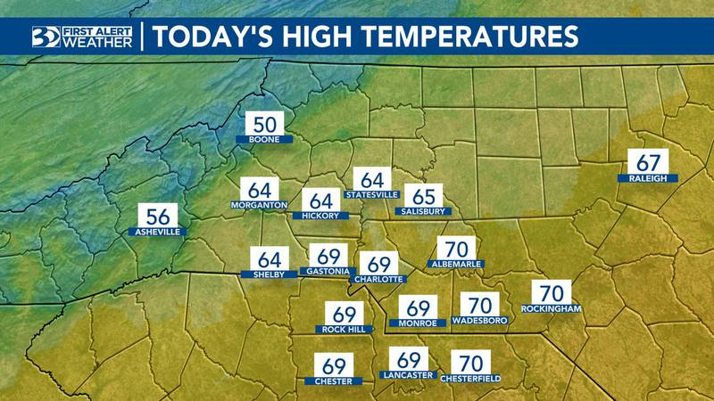 Tuesday temperatures for most of the area will top out in the upper 60s.