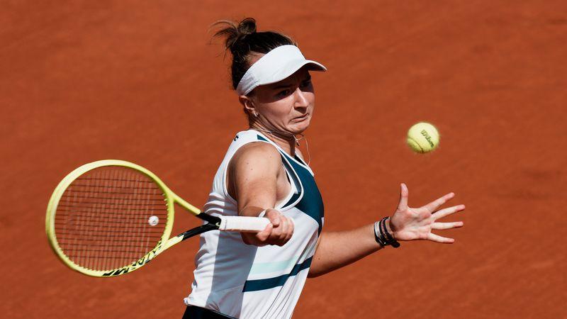 Czech Republic's Barbora Krejcikova slams a forehand to Russia's Anastasia Pavlyuchenkova...