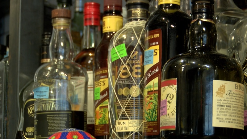 Bottles of liquor sit on the bar at Fin & Fino in uptown Charlotte