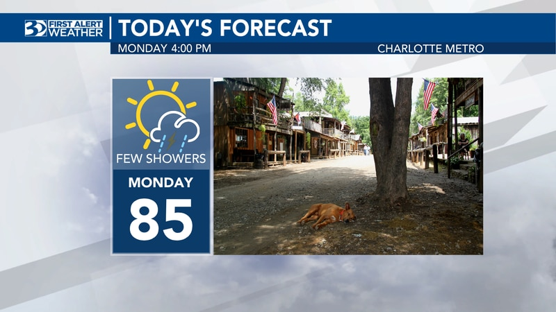 There will be a few showers during Labor Day.