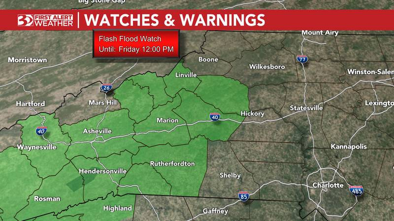 A flash flood watch is in effect for portions of our viewing area until 12 p.m. Friday.