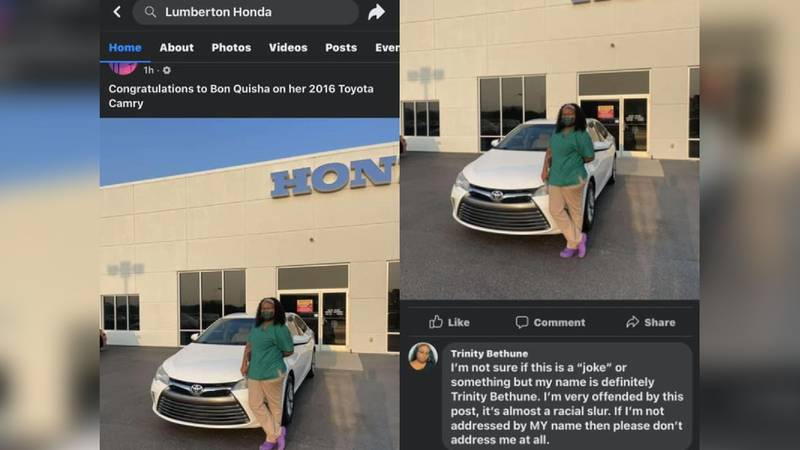 "A North Carolina car dealership is under fire over a Facebook post calling a Black woman ""Bon..."