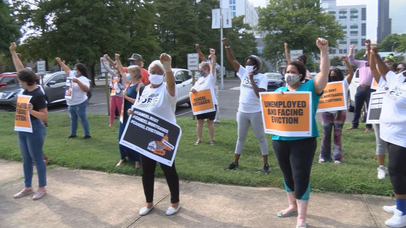 The protest was strategically scheduled for the first of the month – a time when rent is due. .
