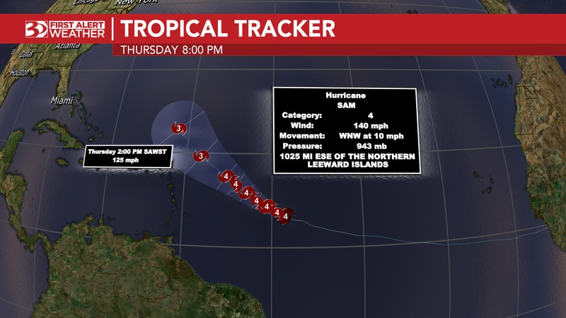 Hurricane Sam is a Category 4 hurricane churning in the Central Atlantic