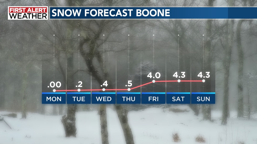 This is the Euro snow forecast  for Boone