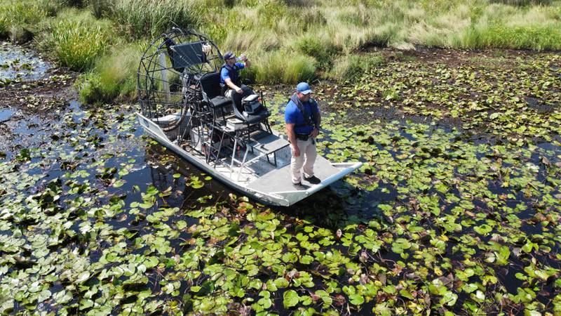 St. Tammany Parish deputies in an air boat, searching for the body of Timothy Satterlee or the...