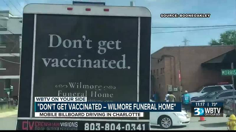 Charlotte business owner explains viral truck billboard is actually a pro-vaccine message