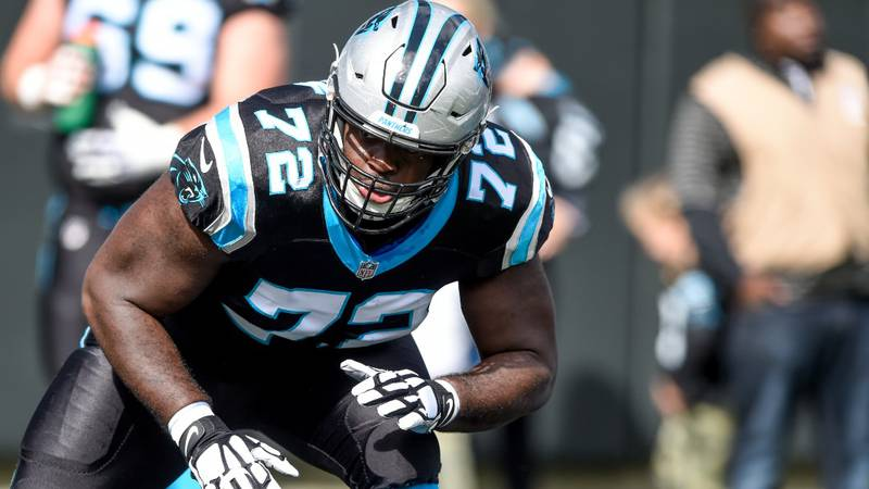 Carolina Panthers offensive tackle Taylor Moton (72) warms up prior to an NFL football game...
