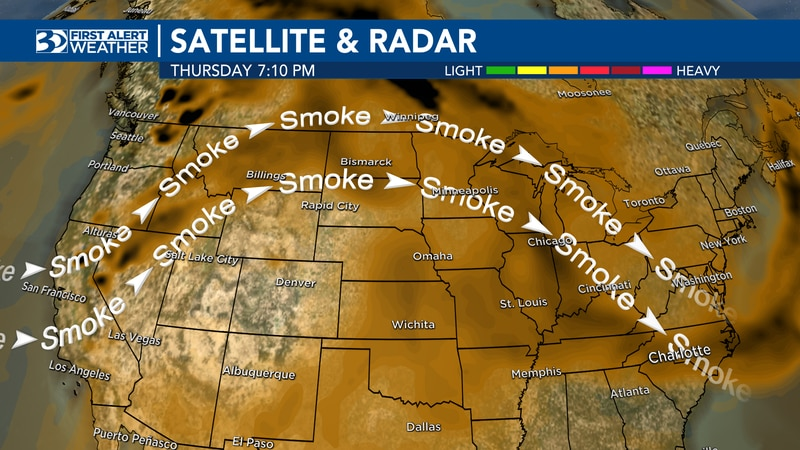 Smoky air from western US wildfires continues to pour into the Carolinas. We will remain in a...