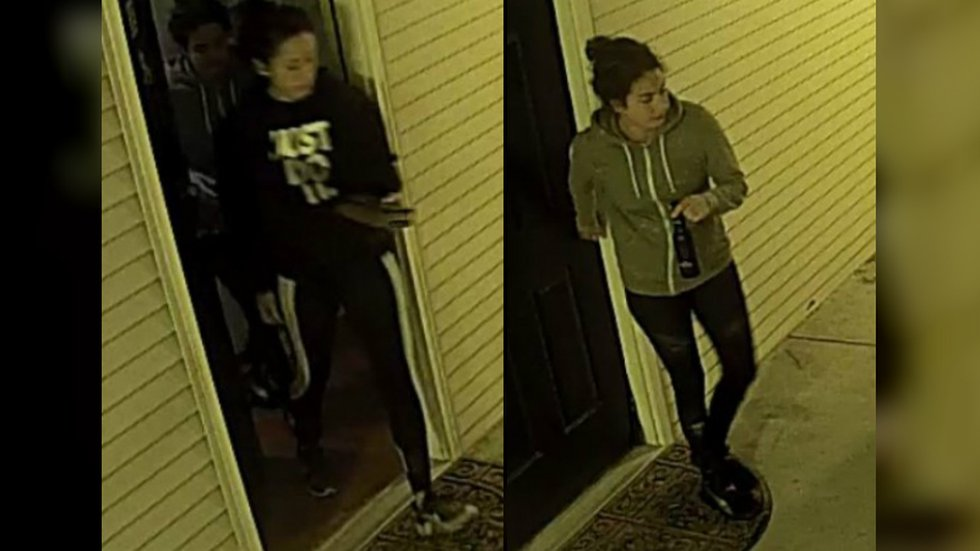 Surveillance video of Stephanie Mayorga (left) and Paige Escalera (right) as they were leaving...