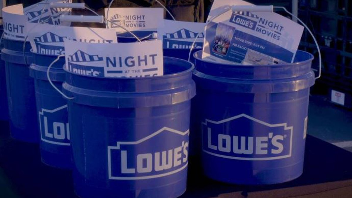 Lowe's Home Improvement will give out buckets with snacks, masks and hand sanitizer during its...