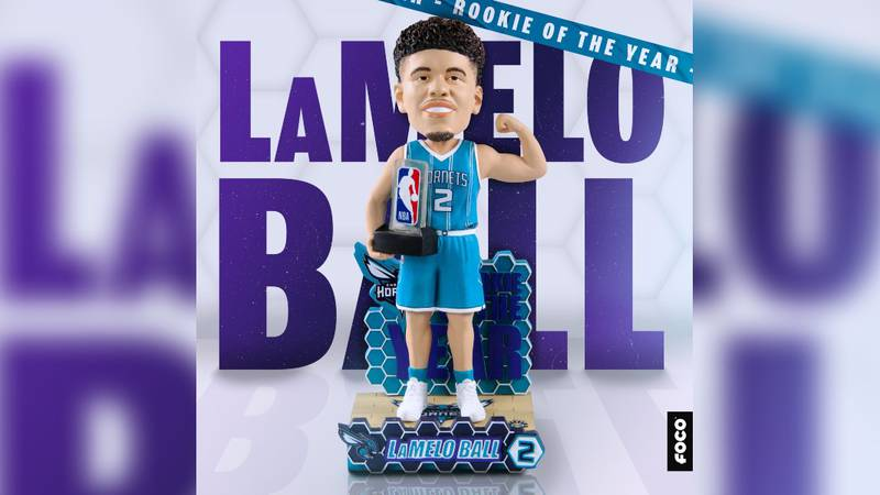 """The """"LaMelo Ball Charlotte Hornets Rookie of the Year Bobblehead"""" features LaMelo flexing in..."""