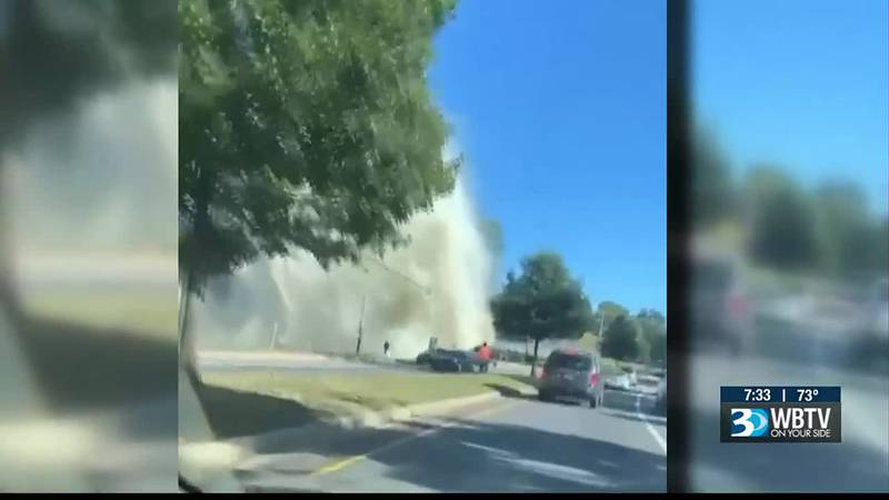 Water main break along Remount Road shut down businesses, cut off the water supply and forced a...
