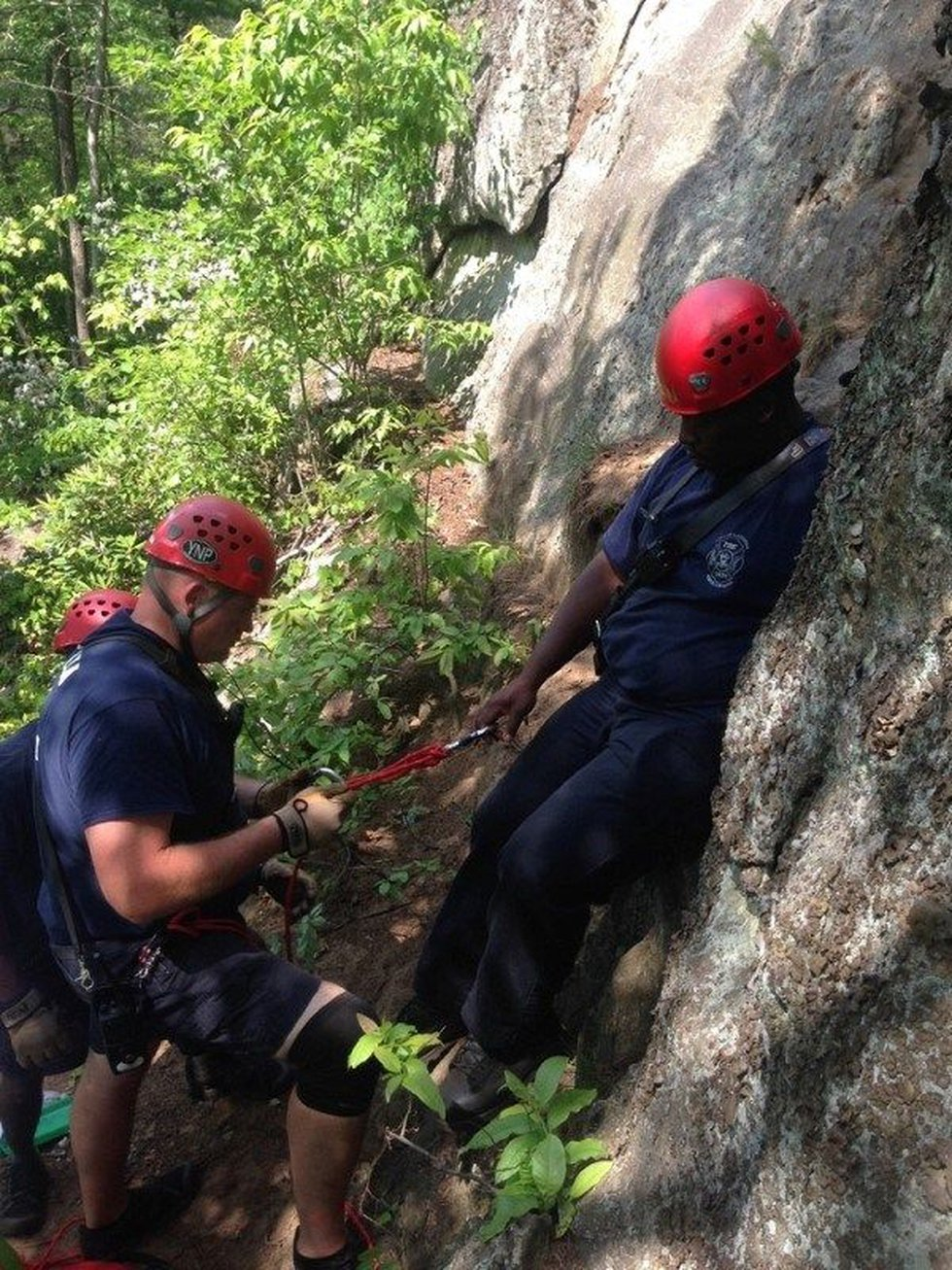Rescue crews ascending to reach the victim (Photos courtesy of The Gastonia Fire Department)