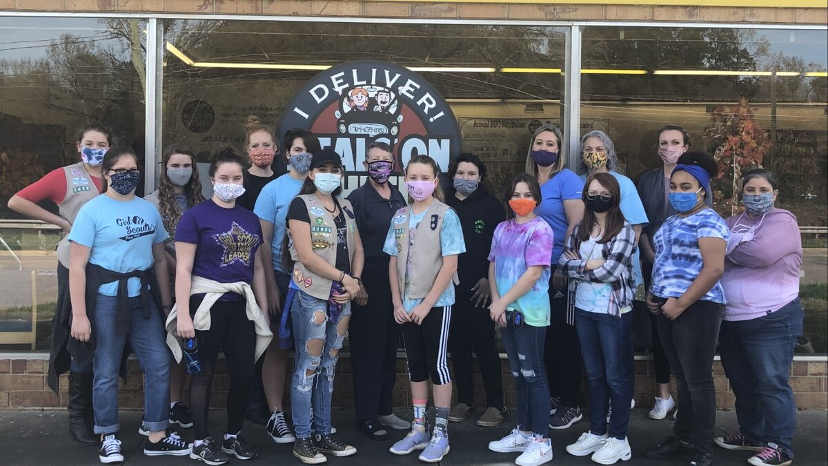 """Girl Scouts from middle schools and high schools across Rowan County gathered to pack """"Winter..."""