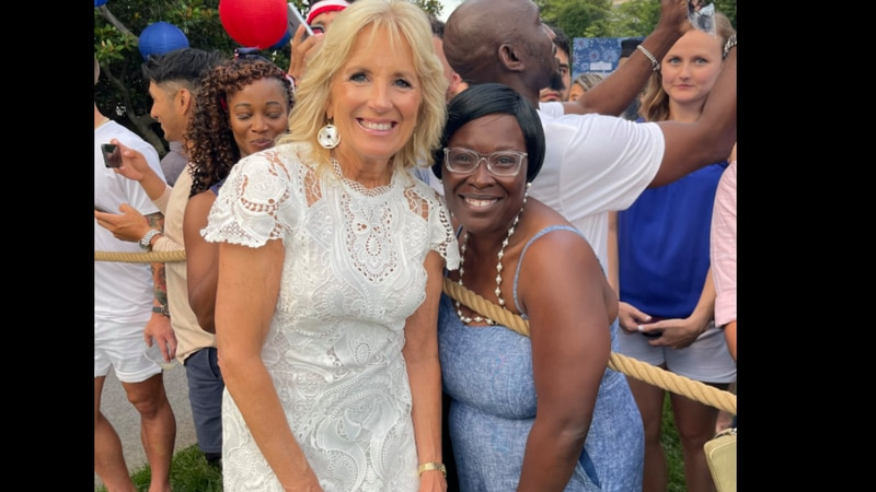 First Lady Dr. Jill Biden poses with Knox Middle School teacher Felecia Young.