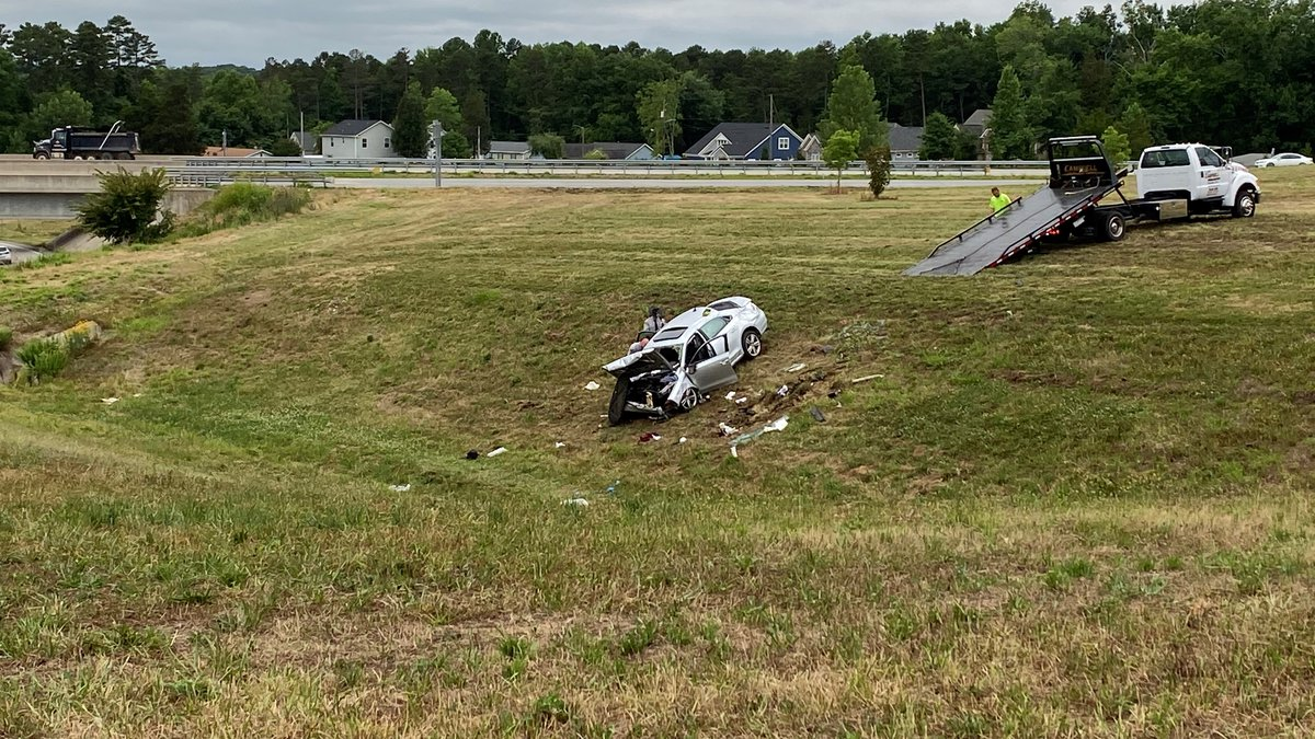 Three people were seriously hurt when a car crashed off an interstate ramp near Concord Mills...