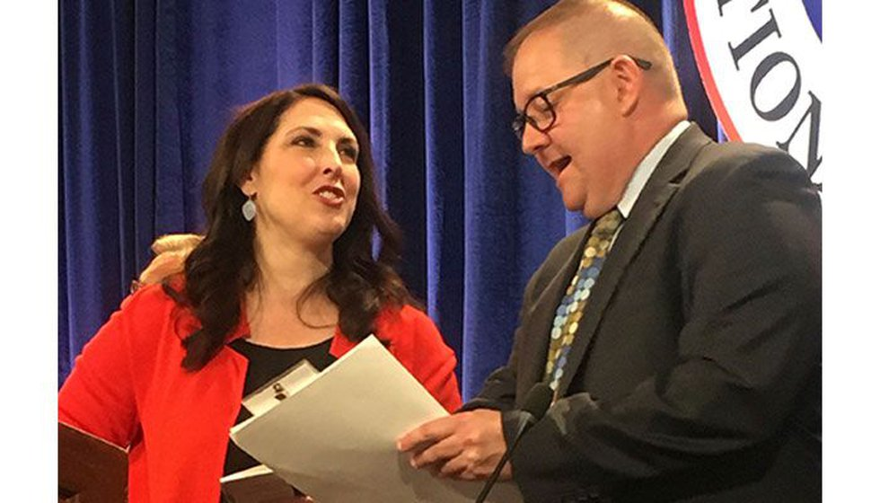 FILE PHOTO - Republican National Committee Chairwoman Ronna Romney McDaniel, left, speaks with...