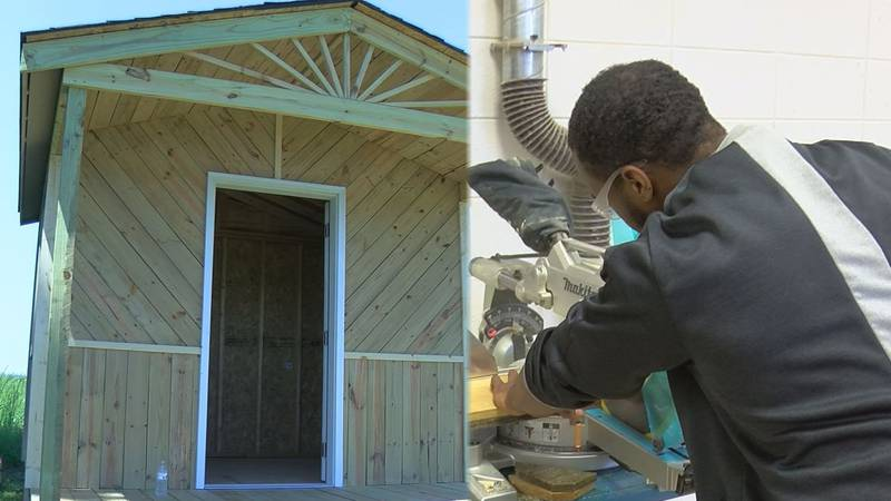 Students at A.L. Brown High School build shelters for veterans