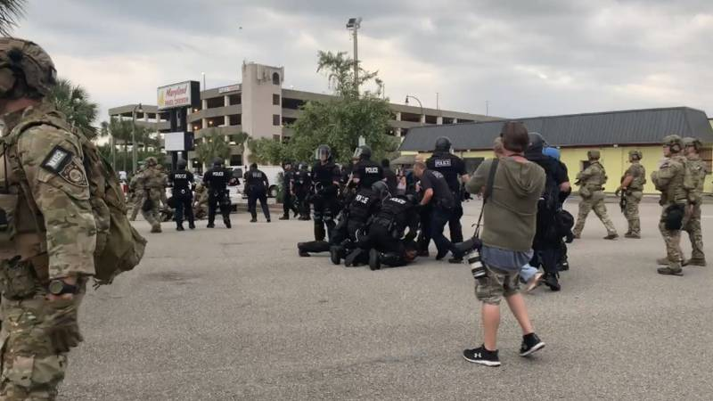 Myrtle Beach police make arrests after protesters failed to disperse after the 6 p.m. curfew.